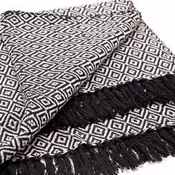 The Urban Zen Geo Blanket, Black Knotted Tassels, Chevron an