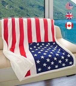 US Flag Patriotic Sherpa Throw Blanket, Super Cozy Fleece Pl