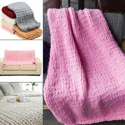 US Handmade Chunky Knitted Blanket Wool Thick Line Yarn Meri
