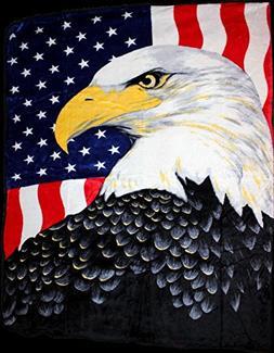 USA American Flag Bald Eagle Full/Queen Mink Throw Blanket