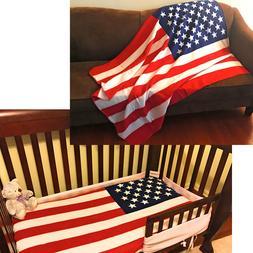 USA American Flag Patriotic Throw Soft Fleece Blanket 50x60