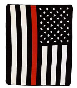 "AES USA Thin Red Line Plush 50""x60"" Polar Fleece Blanket Thr"