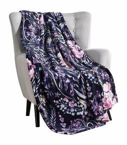VCNY Decorative Throw Blanket Swaying Floral Vibrant Botanic