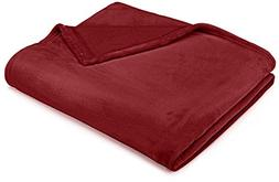 Pinzon Velvet Plush Blanket - Full/Queen Burgundy