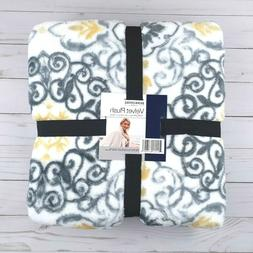 Berkshire Velvet Plush Throw Blanket Leaves Gray White 50x70