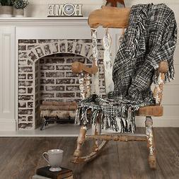 VHC Farmhouse Throw Blanket Fleece Soft Couch Sofa Chair Bla