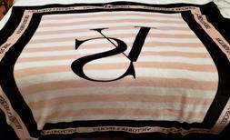 Victoria's Secret Plush Throw Blanket - Pink Stripe with VS
