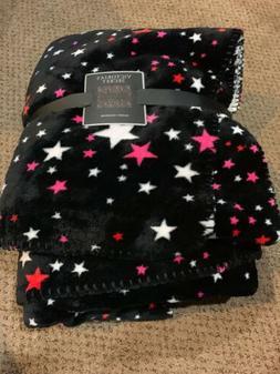 Victorias Secret Sherpa Throw Blanket Black Stars Soft NWT N