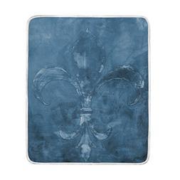 ALAZA Vintage Dark Blue Fleur de Lis Crystal Velvet Throw Bl