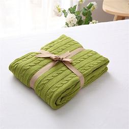 ZHIMIAN Vintage Reversible 100% Cotton Cable Knit Blanket Su