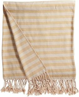 Nine Space Viscose from Bamboo Striped Throw Blanket, Mustar