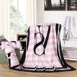 VS Blanket Love Pink Plush Throw Coral Flannel Velvet Winter