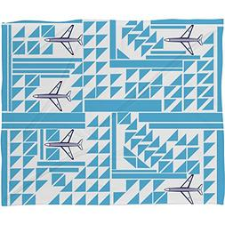 Deny Designs  Vy La , Airplanes and Triangles, Fleece Throw