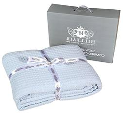 HILLFAIR Waffle Blue Queen Bed Blankets– 100% Cotton Blank