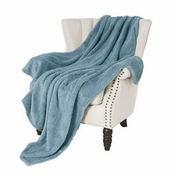 Exclusivo Mezcla Waffle Flannel Fleece Velvet Plush Throw Bl