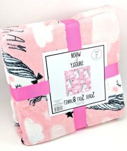 Warm & Snuggly Pink Unicorn Dream Magic Soft Fuzzy Throw Bla