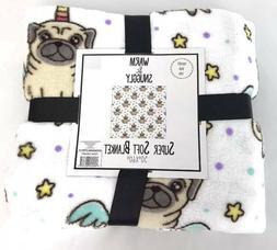Warm & Snuggly Pug Unicorn Pugicorn Fuzzy Throw Blanket 50 x