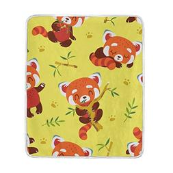 My Little Nest Warm Throw Blanket Cartoon Red Panda Yellow L