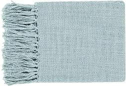 Diva At Home Warm Weaves Slate Blue Woven Fringed Throw Blan