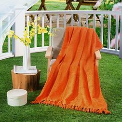 HollyHOME Washable Knitted Throw Blanket with Tassels, Light