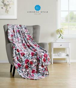 watercolored floral ultra plush oversized fleece throw
