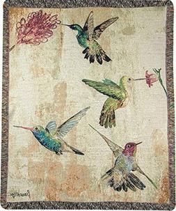 weavers hummingbird floral tapestry throw