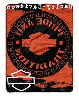 Harley-Davidson Wheels Micro Raschel Throw Blanket, Black &
