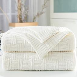 Longhui bedding White Cotton Cable Knit Throw Blanket for Co