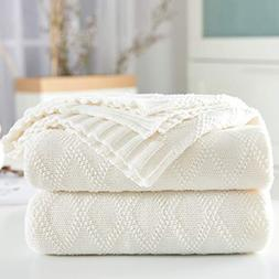 100% Cotton White Cable Knit Throw Blanket for Couch with Bo