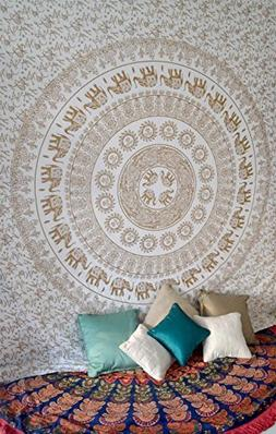 White Gold Elephant Mandala Tapestry Wall Hanging Hippie Boh