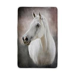 ALAZA White Horse Blankets Lightweight Blanket for Adults Me