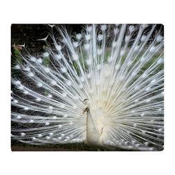 CafePress White Peacock, in Full Display Soft Fleece Throw B