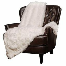 White Throw Blanket Soft Long Shaggy Chic Fuzzy Fur Faux War