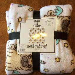 White Unicorn Pug Pugicorn Velvet Fleece Throw Blanket! New!