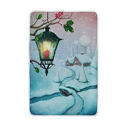 ALAZA Winter Snowy Village with Lantern Throw Blanket Extra
