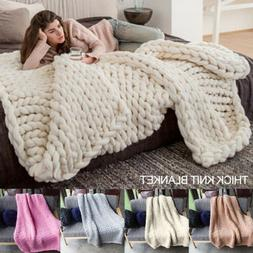 winter warm chunky knit blanket thick yarn