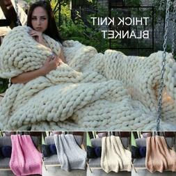 Winter Warm Chunky Knit Blanket Thick Yarn Merino Hand Woven