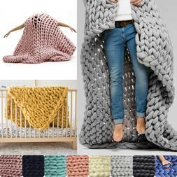 Winter Warm Chunky Knit Blanket Thick Yarn Merino Handmade B