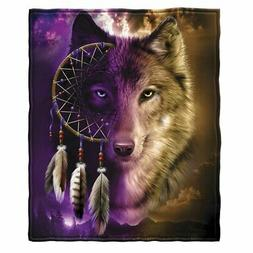 wolf dreamcatcher fleece throw blanket