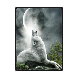 QH Wolf Howl Printing Velvet Plush Throw Blanket Comfort Des
