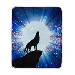 ALAZA Wolf Howling At The Moon Blanket Luxury Throw Personal