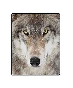 QH Wolf Printing Velvet Plush Throw Blanket Comfort Design H