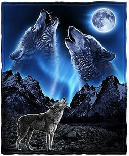 Dawhud Direct Wolves Howling Moon Full/Queen Size Plush Flee
