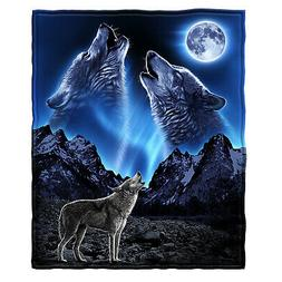 Dawhud Direct Wolves Howling Moon Super Soft Plush Fleece Th