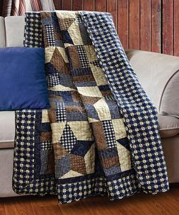 WOODLAND STAR 50x60 QUILT THROW : COUNTRY CABIN LODGE 5 POIN