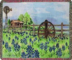 Manual Woodworkers & Weavers Tapestry Throw, Bluebonnet's Be