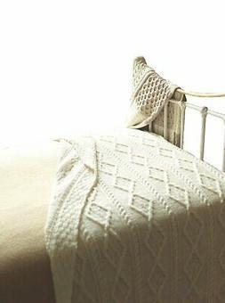 Cable Knit Blanket Irish Merino Wool Throw Traditional Aran
