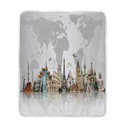 ALAZA World Map Travel Landmark Grey Blanket Soft Warm Cozy