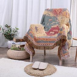 World Map Throw Blanket Tassels Tapestry Woven Cotton Sofa B