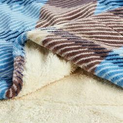 XL Long Sherpa Fleece Super Soft Fuzzy Blanket Throw Plaid B